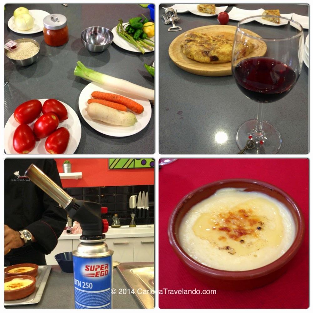Ingredientes, omelete com vinho, ferramenta de trabalho para o creme catalan