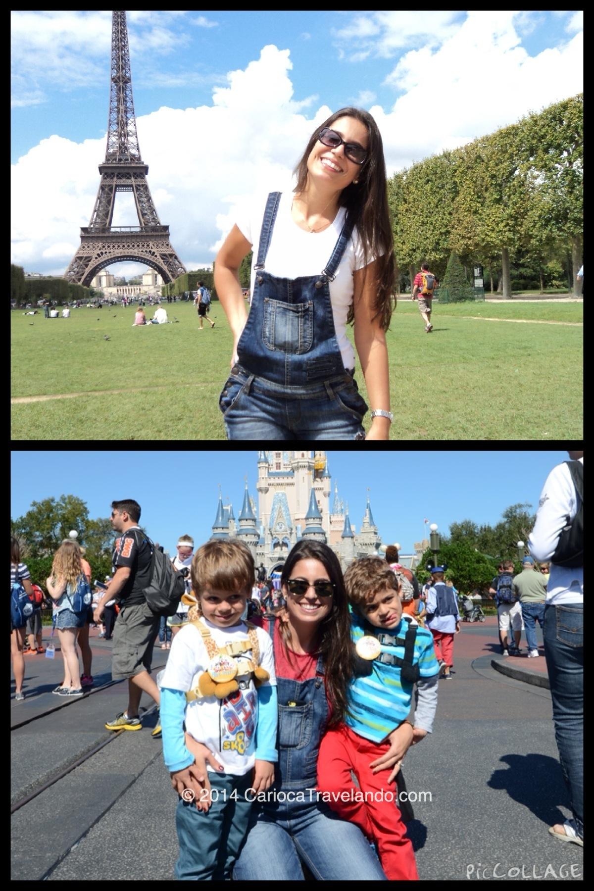 O mesmo macaquinho jeans em Paris e na Disney em Orlando