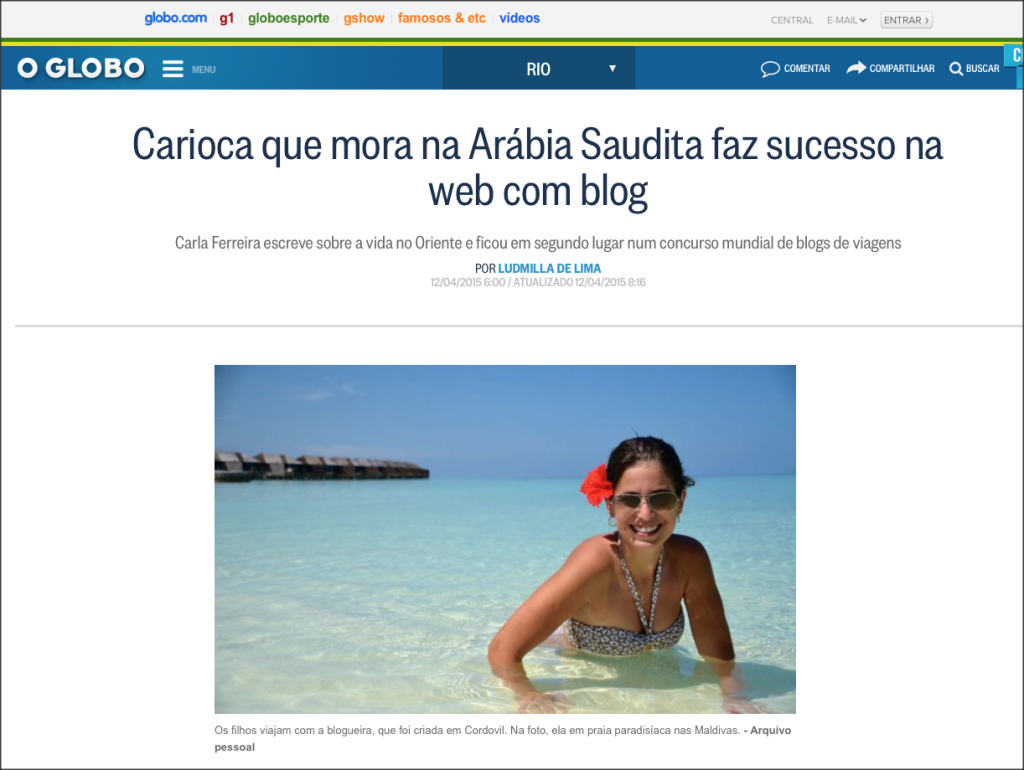 BREAKING NEWS: Carioca Travelando hoje no O Globo
