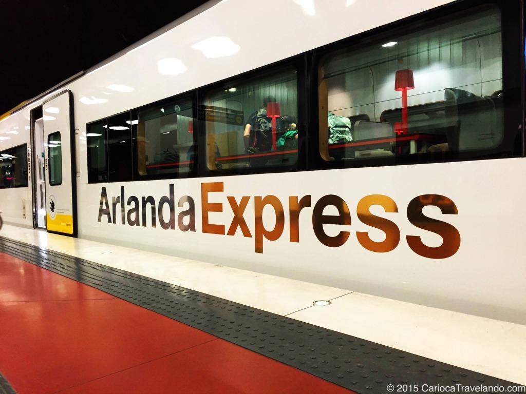 E esse foi o trem que em 20 minutos, nos levou do aeroporto de Arlanda até o nosso hotel