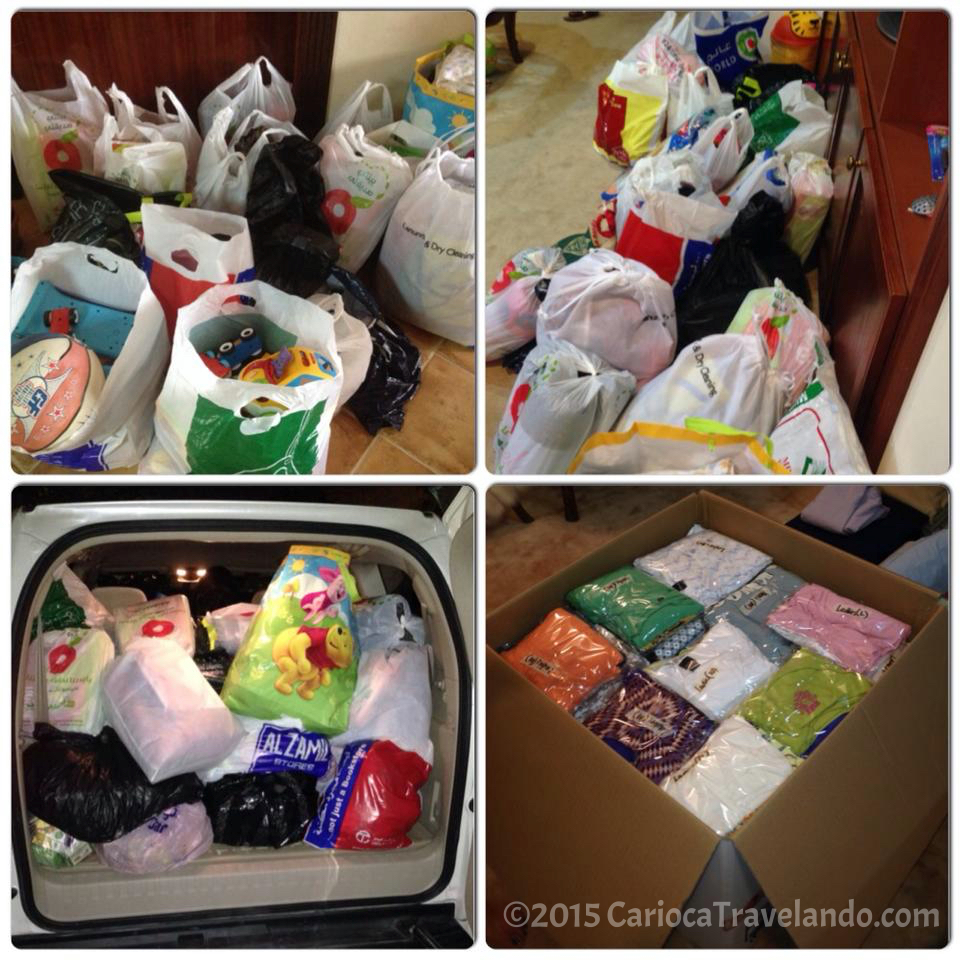 Furação nas Filipinas: nosso carro cheio de doações. A comunidade de expatriados é muito unida. Gratidão!
